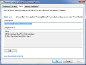 Setting IE Run as Administrator